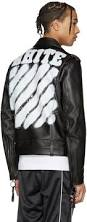 biker jacket men off white black leather diagonal carryover biker jacket men off
