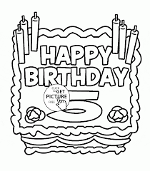 happy 5th birthday card coloring page for kids holiday coloring