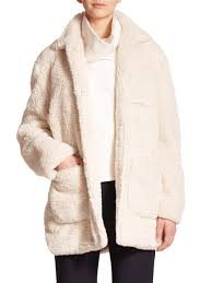 opening ceremony bern oversized faux shearling coat in natural lyst