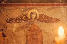 Blind Christian Fresco With Blind Angel On Ancient Christian Church And Light From