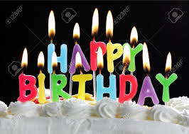 happy birthday candles colorful happy birthday candles burning on a cake stock photo