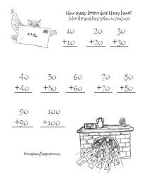 harry potter worksheets double tens owl addition homeschool