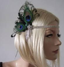 peacock headband black gold silver peacock feather flapper 1920 s deco