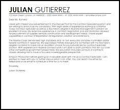 Procurement Specialist Cover Letter contract specialist cover letter sle livecareer