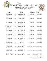elapsed time half hour worksheet 1