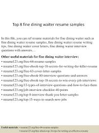 restaurant waitress resume sample top8finediningwaiterresumesamples 150529091347 lva1 app6891 thumbnail 4 jpg cb 1432890870