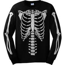 Halloween Skeleton Top by Skeleton Torso Long Sleeve Halloween Costume T Shirt Front