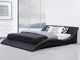 modern king size bed frame sleigh 6ft genuine leather headboard