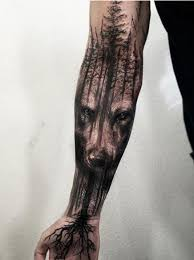 wood effect tattoo amazing wolf u0026 tree tattoo by jak connolly at equilattera in miami