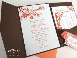 cherry blossom wedding invitations coral brown cherry blossom branch wedding invitations citlali