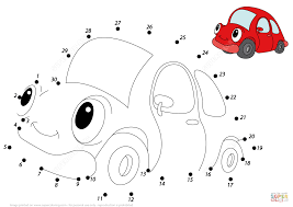 red car dot to dot free printable coloring pages