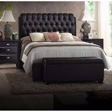 King Size Platform Bed King Size Platform Beds Upholstered Leather Black Headboard Button