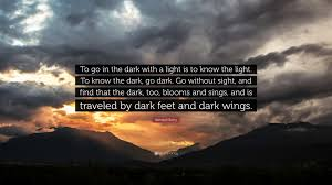 Light And Dark Quotes Wendell Berry Quote U201cto Go In The Dark With A Light Is To Know