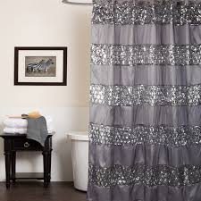 sparkling grey shower curtain ideas decorated with glossy crystal
