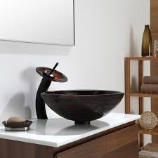 copper illusion glass vessel sink waterfall faucet chrome