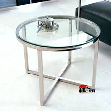 round chrome side table side table chrome metal glass round side end table modern glass