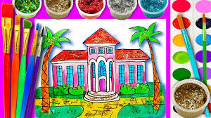draw paint barbie dream house water color