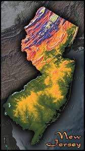 Terrain Map New Jersey Topography Map Colorized Terrain By Elevation