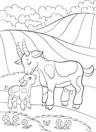 free coloring pages goats coloring pages farm animals mother goat with her little baby stock