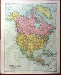 Big Map Of North America by Large Map Of North America 1922 Atlas Antique Map United