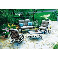 patio table grommet somerset 4 piece deep seating set mushroom all patio