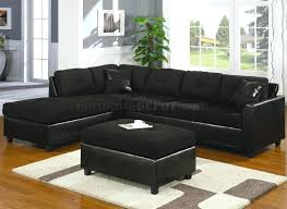 black microfiber sectional sofa with chaise recliners 7796
