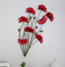 craft for home decor modern home decoration metal wall art hand made red poppy flower