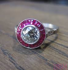 art deco style diamond and ruby engagement ring with an old