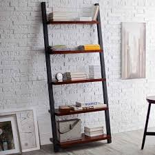 ladder bookcase design style featuring black wooden frames and