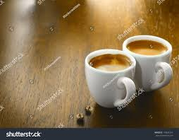 espresso coffee two cups freshly brewed espresso coffee stock photo 119837254