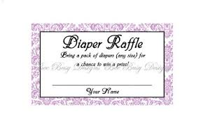 printable purple damask diaper raffle tickets great for baby