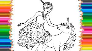barbie princess and unicorn coloring pages l coloring markers
