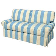 Striped Slipcovers For Sofas Cr Laine Blue Striped Sofa At 1stdibs