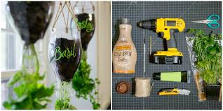 how to turn plastic bottles into the cutest indoor herb garden for