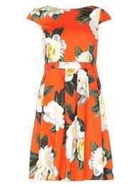 orange floral cotton fit u0026 flare dress garden party dresses