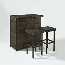 Crosley Furniture Outdoor Crosley Palm Harbor 3 Piece Outdoor Wicker Patio Bar Set Hayneedle