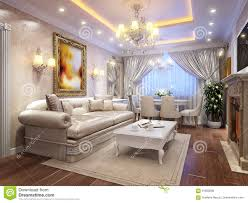 luxurious classic baroque living room interior stock illustration