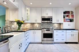 White Kitchen Tile Floor Countertops Backsplash L Shape Kitchen Design Tile Kitchen