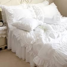 Ruffle Bedding Set Luxury White Lace Ruffle Bedding Set King Cotton