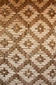 Native House Design Pattern Of Native Thai Style Bamboo House Wall Stock Photo