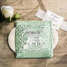Mint Wedding Invitations Mordern Mint Green Laser Cut Invitations Ewws111 As Low As 2 09
