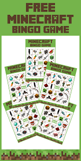 homemade minecraft invitations free printable minecraft bingo game bingo games free printable
