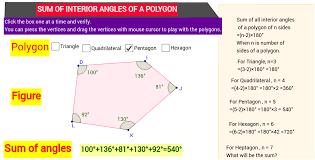 Sum Of The Interior Angles Of A Polygon Worksheet Sum Of Interior Angles Of A Polygon U003d N 2 X Straight Angle