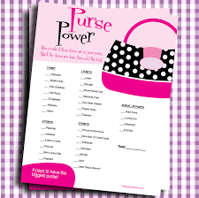 Bridal Shower Venues Long Island Bridal Shower Games Printable Purse Power You Print Digital