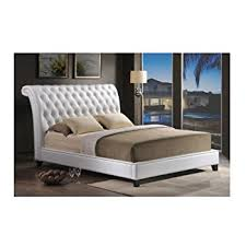 amazon com baxton studio bianca white modern bed with tufted