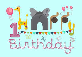 vector illustration of 1st birthday card download free vector