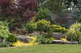 backyard rock landscaping stock photo image 41840438