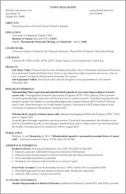 Lab Experience Resume Resume Template Objective Internship Sample With Job For 25