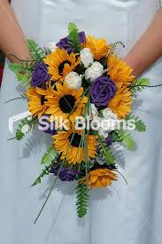 Sunflower Wedding Bouquet Shop Opulent Orange Sunflower Purple U0026 Ivory Teardrop Wedding