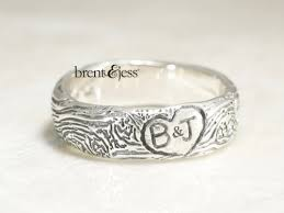 Ring With Initials Narrow You And Me Forever Fingerprint Wedding Ring In Sterling